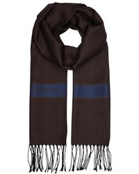 Corneliani - Brown Herringbone Wool-blend Scarf - Lyst