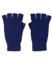 Johnstons Tuareg Fingerless Cashmere Gloves - Blue