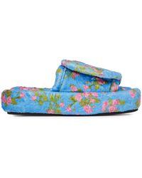 Natasha Zinko Floral-print Padded Fleece Slippers - Blue