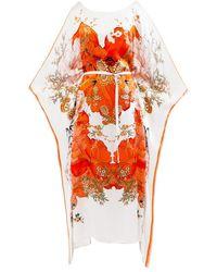 Meng White Orange Silk Satin Kaftan