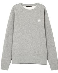 Acne Studios - Fairview Face Light Grey Cotton Sweatshirt - Lyst