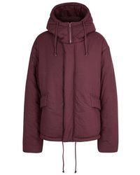 Yeezy - Burgundy Oversized Brushed Cotton Jacket - Lyst