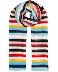 Diane von Furstenberg - Carrington Striped Silk Chiffon Scarf - Lyst
