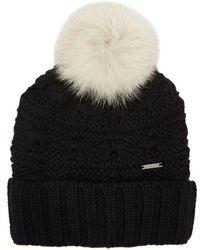 Woolrich - Serenity Black Fur-trimmed Wool Beanie - Lyst