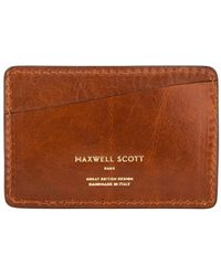 Maxwell Scott Bags Italian Crafted Tan Leather Business Card Holder - Brown