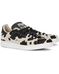 adidas Originals Stan Smith Cow-print Calf Hair Sneakers - Black