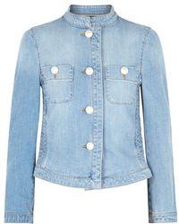 Boutique Moschino - Blue Shirred Denim Jacket - Lyst