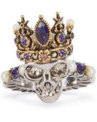 Alexander McQueen Queen Skull Embellished Silver-tone Ring - Metallic