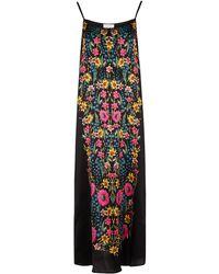 YOLKE Wildflower Printed Silk Slip Dress - Black