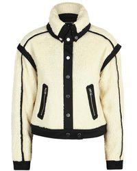 Veronica Beard Anita Cropped Faux Shearling Jacket - White