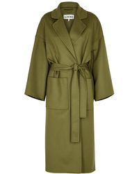 Loewe Olive Belted Wool And Cashmere-blend Coat - Green