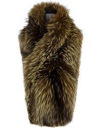 Lilly E Violetta - Arabella Olive Fox Fur Scarf - Lyst