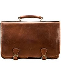 Maxwell Scott Bags Classic Men S Tan Leather Briefcase Business Bag - Brown