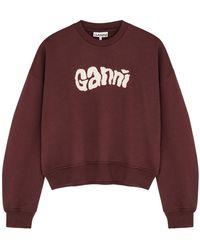 Ganni Isoli Burgundy Logo Cotton-blend Sweatshirt - Multicolour