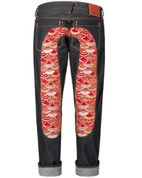 Evisu Regular-fit Denim Jeans With Kamon Scale-embroidered Daicock Insert - Blue