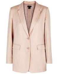 Donna Karan - Pink Linen And Cotton-blend Blazer - Lyst