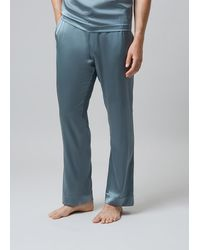 Meng Silk Satin Pyjama Bottoms - Metallic
