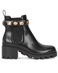 Gucci Gemstone Chelsea Boots - Black