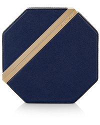 Stacy Chan London New Imogen Clutch In Navy Saffiano Leather - Blue