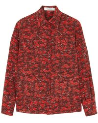 Valentino - Red Printed Silk Crepe De Chine Blouse - Lyst