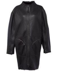 Amanda Wakeley Black Reversible Silky Shearling Coat