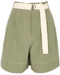 Lee Mathews Birder Olive Cotton Shorts - Green