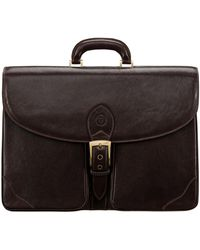 Maxwell Scott Bags Brown Full Grain Leather Mens Large 17 Laptop Briefcase