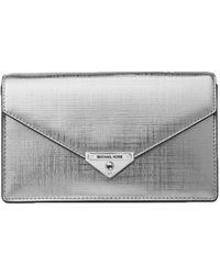 MICHAEL Michael Kors - Grace Metallic Leather Envelope Clutch - Lyst