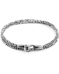 Anchor & Crew - White Noir Tenby Silver And Rope Bracelet - Lyst
