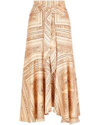 Free People Hampton Printed Satin Midi Skirt - Natural