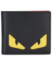 Fendi - Monster Black Leather Wallet - Lyst