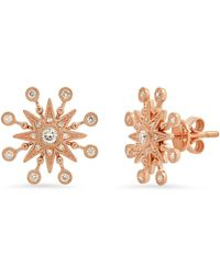 The Alkemistry Colette 18ct Rose Gold And Diamond Moon Starburst Earrings (pair) - Pink
