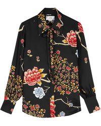Victoria, Victoria Beckham Floral-print Satin-twill Blouse - Black