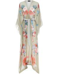 Meng Gold Floral Silk Chiffon V-neck Wrap - Multicolour