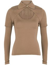 Jacquemus La Maille Albi Brown Wool-blend Top - Natural