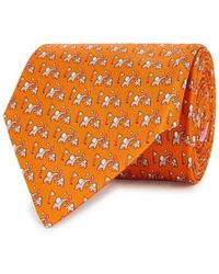 Ferragamo - Orange Printed Silk Tie - Lyst