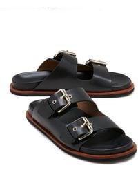 Jigsaw Ivy Leather Footbed Slider - Black