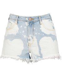 One Teaspoon Bonita Bleached Denim Shorts - Blue