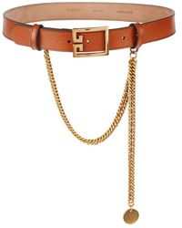 Givenchy - Brown Chain And Leather Belt - Lyst