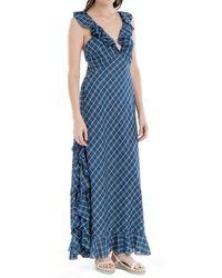 Max Studio - Indigo Plaid Maxi Dress - Lyst