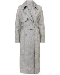 Varana - Grey Linen Trench Coat - Lyst