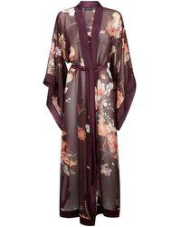 Meng Burgundy Silk Chiffon Unlined Kimono - Purple