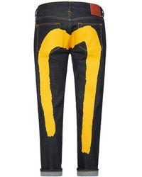 Evisu Brushstroke Daicock Printed Slim Fit Cropped Jeans - Blue