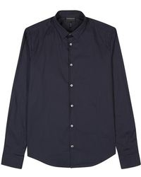 Emporio Armani - Navy Cotton-blend Shirt - Lyst