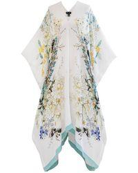 Meng White Pagoda Silk Georgette Kaftan