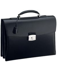 S.t. Dupont Double Gusset Briefcase Line - Black