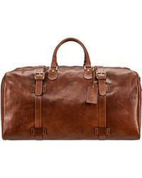 Maxwell Scott Bags Maxwell Scott Mens Leather Extra Large Travel Holdall - Fleroel Tan - Brown