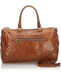 Prada Brown Leather Boston Bag