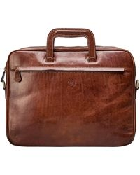 Maxwell Scott Bags Chestnut Tan Full Grain Leather Document Carrier - Brown