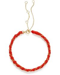 The Alkemistry 18ct Gold Kumachi Bracelet With Coral Silk Cord - Yellow
